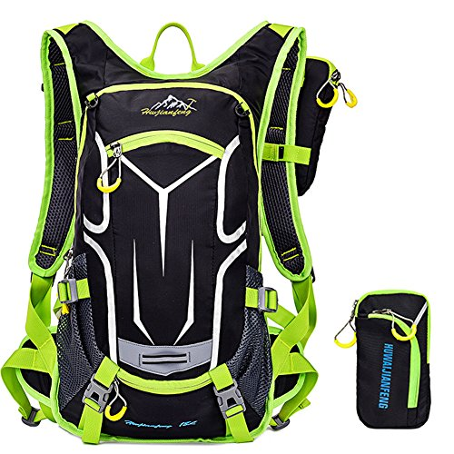 Waterproof Breathable Bike Shoulder Backpack Ultra Light Outdoor Sports Riding Travel Mountaineering Camping Hiking Riding Water Backpack with Rain Cover 15L, GREEN 1,