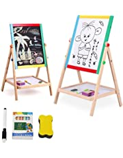 Lukzer 2 in 1 Double Sided Black and White Wooden Board for Kids Drawing Writing Easel with Duster Marker Chalkbox (40x35cm)