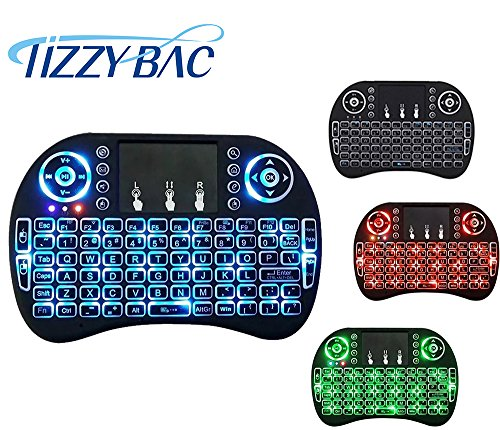 TIZZY BAC Mini 2.4Ghz 3 Farben Von hinten beleuchtete Mini Wireless Tastatu Mini 2.4Ghz Von hinten beleuchtete Wireless Touchpad-Tastatur mit Maus für PC, Auflage, Xbox 360, PS3, Google Android-TV-Box, Htpc, Iptv (Drahtlose Von Hinten Beleuchtete Tastatur Maus)