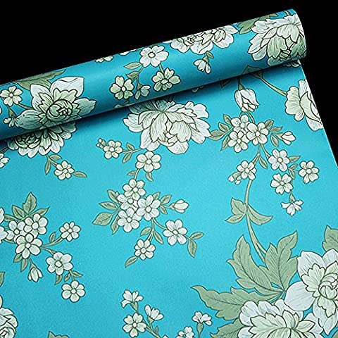 LoveFaye Vintage Peony Self-Adhesive Shelf Drawer Liner Removable PVC Blue