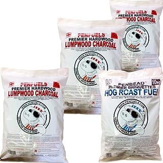 PENFUELS® PENBEAD Premier Charcoal BBQ Briquettes 10kg Plus Hardwood Lumpwood Charcoal 15kg