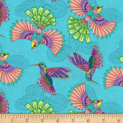 Wilmington Prints 0647863 Wilmington Rainbow Flight Birds Allover Teal Fabric Stoff, Textil, blaugrün, By The Yard -