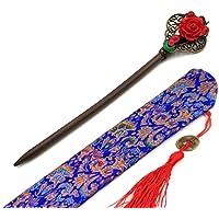 Bastone per capelli in legno con fiore rosso accessori per capelli per donne ragazze per capelli strass bastone per…