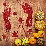 XINAINI Blutige Aufkleber Halloween Dekoration,Blut FußAbdruck Handabdruck Boden Haftungen Fenster...