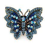 Großen Blauen Kristall Schmetterling Ring in Gold Ton–Größe 7/8verstellbar