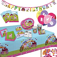 tib 19730 Girl Dream Motive Princess & Unicorn Party Suitcase Set of 60 Pieces, Multicolour, One Size