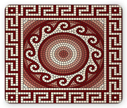 e Pad, Mosaic with Classic Greek Meander Ornament Fractal Antique Pattern, Standard Size Rectangle Non-Slip Rubber Mousepad, Ruby Burgundy Coral Cream ()