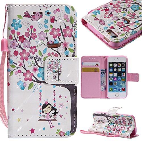 NEXCURIO iPhone 5S/iPhone SE/iPhone 5 Hülle Leder, Handyhülle Tasche Leder Flip Case Brieftasche Etui mit Kartenfach Stoßfest Kratzfest Schutzhülle für Apple iPhone5S/iPhoneSE/iPhone5 - KTU104575#2 (5 Für Soft-tasche Iphone Mädchen)