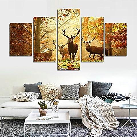 5 Stück Wand-Kunst-Malerei-Rotwild im Herbst-Walddrucke auf Segeltuch Tier das Bild-Dekor-Öl für Haus Moderne Dekoration-Druck (50
