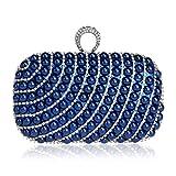 LWZY Damen kristall clutch,Clutch abendtasche Perle dinner-paket-Blau 5x10x16cm(2x4x6inch)