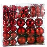 Palline di Natale Albero Cuori Stivali stelle, rosso, 103pcs