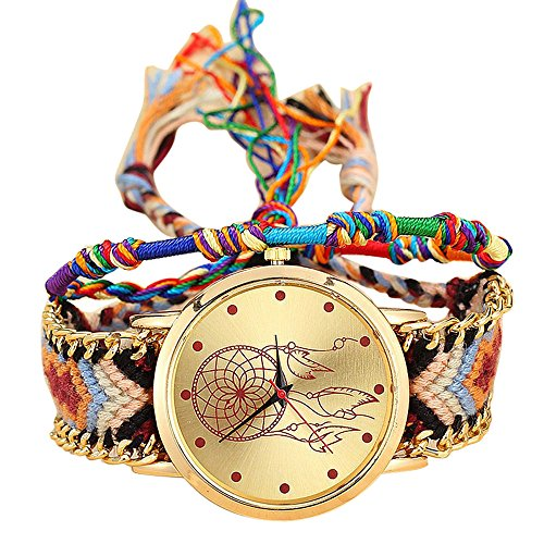 Reloj de pulsera para mujer Ronamick Vansvar Native hecho a mano para mujer, vintage, cuarzo, atrapasueños, amigos, amigos, relojes de pulsera D