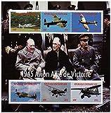 Weltkrieg Briefmarken - Die Flugzeuge des 2. Weltkrieges mit Winston Churchill - Mint und postKleinBogen mit 6 Briefmarken