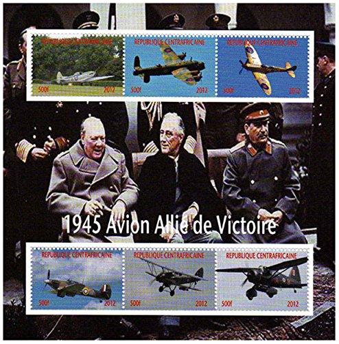 Weltkrieg Briefmarken - Die Flugzeuge des 2. Weltkrieges mit Winston Churchill - Mint und postKleinBogen mit 6 Briefmarken (Spielzeug Ww2-flugzeug)