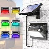 Solarlampe Garten, MATONE Solarleuchten Außen mit Bewegungsmelder 180°Weitwinkel Solar Beleuchtung [Verstellbares Solarpanel] 200LM 12 LED Solarbetriebene Wandleuchte für Garage Veranda Terrasse Hof (Schwarz)
