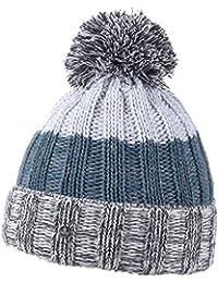 Lierys Strickmütze Tricolor Bommel Umschlagmütze für Damen und Herren Strickmütze Wintermütze Bommelmütze mit Umschlag Herbst Winter