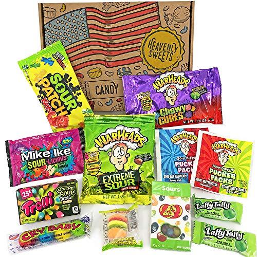 Geschenkkorb mit saure amerikanische süßigkeiten | Super Saures Geschenkset aus den USA | Auswahl beinhaltet Warheads Extreme, Sour Jelly Beans | 12 Produkte in einer tollen retro Geschenkebox