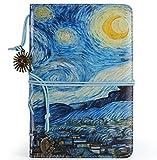 ❤️ VALERY - Diario di Viaggio in Ecopelle I A5 Taccuino Vintage a Righe I Agenda Giornaleria per Appunti Rilegato I Quaderno: 96 Fogli & 192 Pagine, Carta Senza Acidi - Blu (Starry Night)