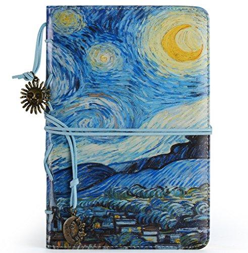 ❤️ VALERY Journal intime vintage, cahier rechargeable, carnet de notes & voyage ligné format A5, bloc-notes avec 96 feuilles et 192 pages, papier sans acide - Bleu (Starry Night)