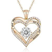 CDE Kette Damen 925 Sterling Silber Rosegold Forever Love Herz Geburtsstein Anhänger Halskette für Damen Schmuck…
