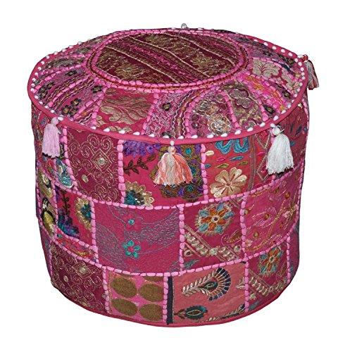 Indian living room pouf, rotondo pouf ottomano sgabello, indiano patchwork ottomano, ricamato etnico indiano pouf sgabello vintage patchwork impreziosito patchwork soggiorno copertura ottomano, 46x 33cm di online by bazar