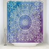 Z&L Home Indischen Mandala Bad Dusche Vorhänge Meditation Art Muster Hippie Boho Bohemian Badezimmer Dekorationen Blau und Violett Art Deco 54x78Inches Blau/Lila
