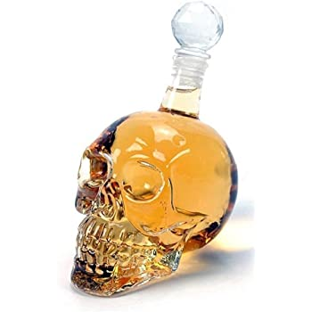 Smartcraft Skull Decanter - 125ml, Skull Head Vodka Scotch Whiskey Wine Drinking Glass Bottle Decanter Skull Shaped Wine Bottle 125 ml (Transparent)