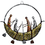 CraftVatika Metal Iron Painted Round Boat Wall Art Sculpture Hanging Decor for Living Room and Office (Multicolor, 16.5 x 16.