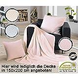 Strukturdecke / Wohndecke / Tagesdecke / Sofadecke / Decke / 150x200 cm / Banderole / uni / rose
