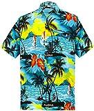 LA LEELA fraîche ensoleillée Plage Aloha Courte Partie de Manchon Cadeau Parfait décontracté île de Poche Avant Le Coucher du Soleil Surf Mens Chemise Turquoise S