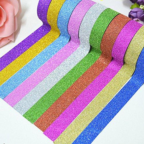 10pcs Glitter Washi Paper Adhesive Tape Craft Sticker Masking Decor 1.5cmx3m + 1 Roll 10m Glitter Tape