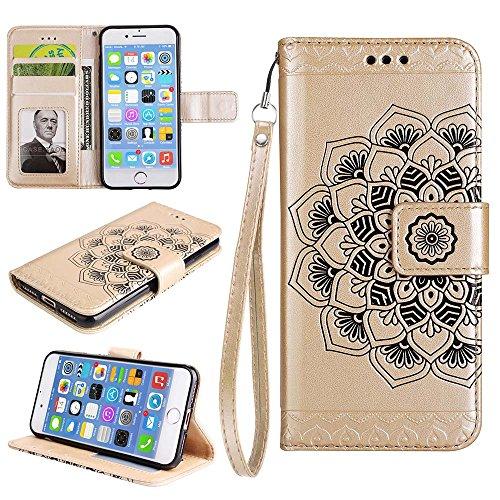 Custodia iPhone 8 Plus[Protezione Libera dello Schermo], ESSTORE-EU Premium Portafoglio Protettiva Cover Custodia, Retrò Mandala Flip Wallet Case Custodia in Pelle per Apple iPhone 8 Plus (2017) - Con Oro