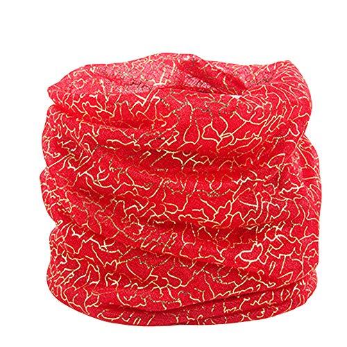 GreatestPAK Loop Schal Damen Printed Silk Schal im Freien Licht Gradient Gradation Schal Sonnencreme Chiffon Schal,rot (Häkeln Silk)