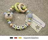 Baby Greifling Beißring geschlossen mit Namen | individuelles Holz Lernspielzeug als Geschenk zur Geburt & Taufe | Jungen Motiv Bär in babyblau