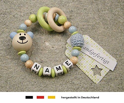 Baby Greifling Beißring geschlossen mit Namen - individuelles Holz Lernspielzeug als Geschenk zur Geburt Taufe - Jungen Motiv Bär in babyblau