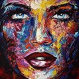 KUNST DRUCK Gemälde Leinwand modern abstrakt Bild 874 Portrait SIGNIERT 100x100