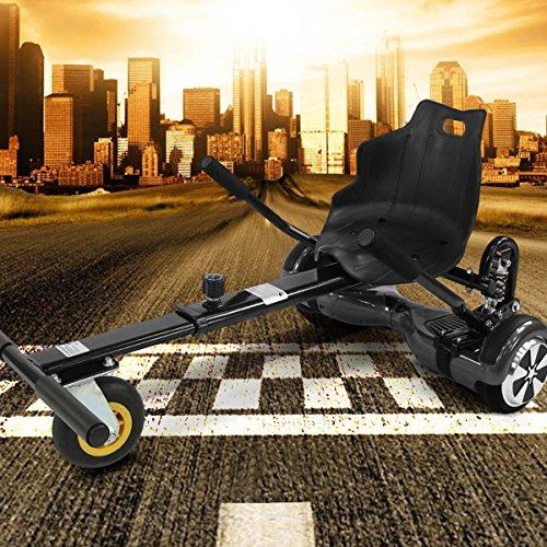 Hoverkart mit LED-Beleuchtung für Hoverboard E-Scooter Hover Seat GoKart Self Balance Scooter Sitz (6,5' / 8,0' / 10') verstellbar (schwarz)