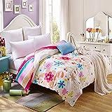 Bedruckte Bettdecke 100% Baumwolle Weich Komfortabel Zip Light Atmungsaktiv Nachhaltige-H 160x210cm(63x83inch)