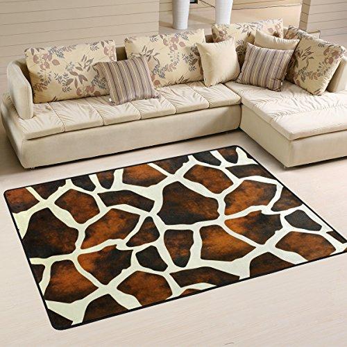 Naanle Rutschfester Teppich mit Tiermotiv, für Wohnzimmer, Esszimmer, Schlafzimmer, Küche, 60 x 90 cm, Giraffenmuster -