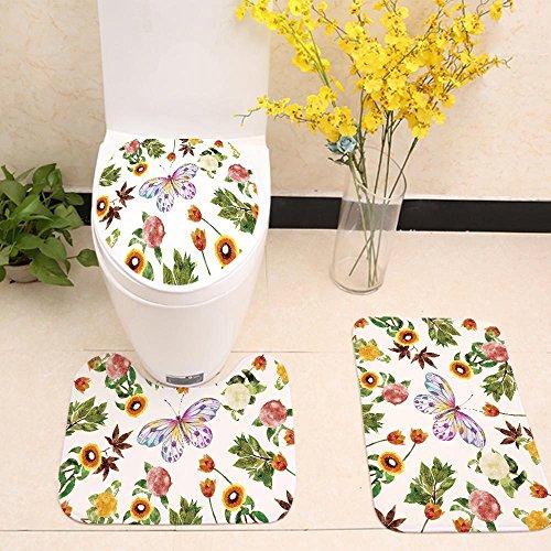 Bunte Blätter Drucken Toilettensitzabdeckung WC-Sets, Badezimmerdekorationen Badematte 3 teile / satz , dd1100-5 , 60*40 + 50*44*18 + - 60 Sitzbezüge 40