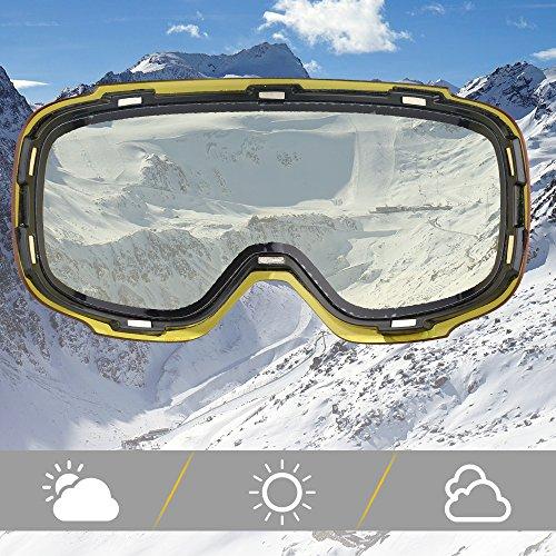 eDriveTech Maschera da Sci, Occhiali Maschera Sci Snowboard Neve Specchio per Uomo Donna Adulto Ragazzo Ragazza Antinebbia Antivento Occhiale Maschere da Sci Anti-UV OTG Magnetica Sferica Lente  Img 1 Zoom