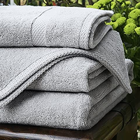 Bamboo Bath Linen - Luxury Bamboo Face Cloths & Towels 600gsm - Pearl Grey - Assorted Sizes (Bath Towel - 130cm x 70cm, Pearl Grey - 600gsm)