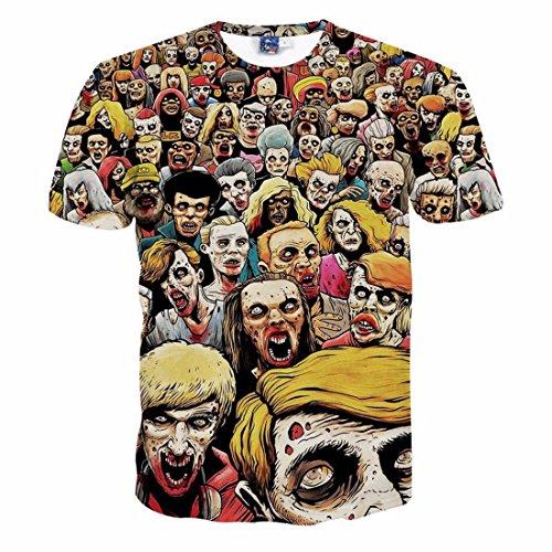 Men's 3D Halloween Dead And Skulls Printed Hip Hop Tee Shirt g1062