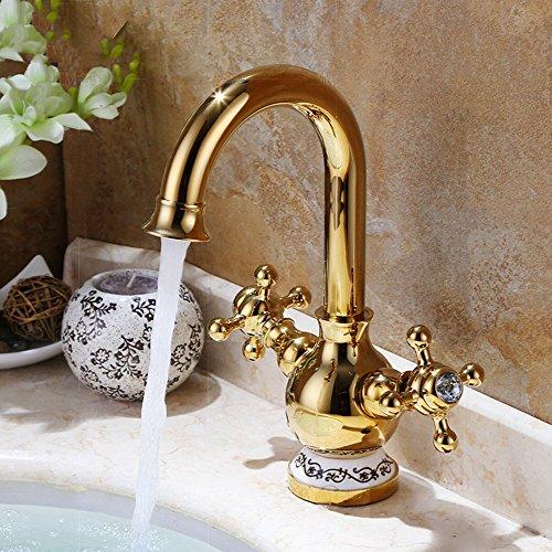 GAO® Wasserhahn Bad Dusche Kupfer Drehbare Doppelgriff einlochmontage Bad Eitelkeit Becken Wasserhahn Wasserfall Cold & Hot Wasserhahn Chrom poliert