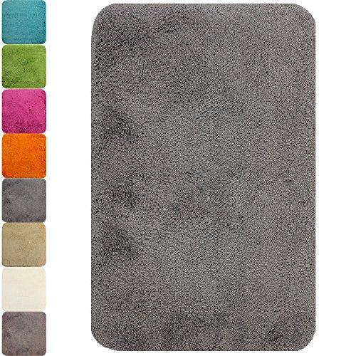 PROHEIM Badematte in vielen Formen rutschfester Badvorleger Premium Badteppich 1200 g/m² weich & kuschelig Hochflor, Farbe:Grau, Produkt:Badematte 70 x 120 cm