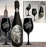 Das Sekt Geschenk Löwe limitiert (2.500 Flaschen) Luxus Cuvée für Männer mit 2 Champagner-Gläsern Bartträger Geburtstag Vatertag Lion August Juli Geschenkset