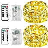 Lichterkette-batterie für kinderzimmer[2Pack],Innen-LED,Timer-Fernbedienung mit IP65 Wasserdicht[5M] (warmweiß)