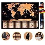 AroundTheWorld Weltkarte zum Rubbeln | Deluxe Scratch Map Rubbel Weltkarte Poster mit Kratzer & Memory-Sticker | XL Landkarte mit lebendigen Farben | Tolles Geschenk für Reiseliebhaber | 60 x 43 cm