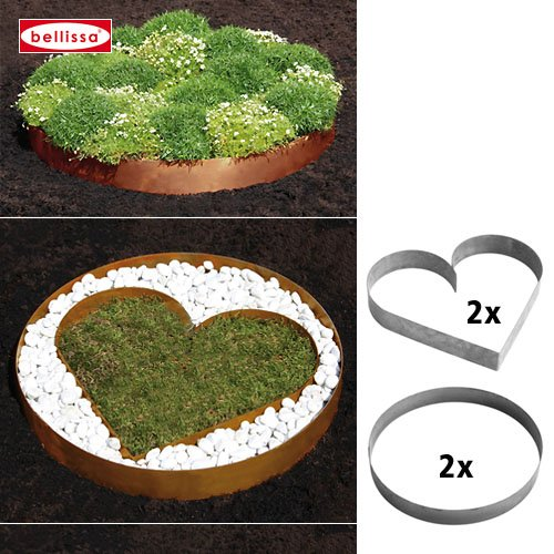Acier corten dekosortiment 2 pièces en forme de coeur, 2 pièces cercle 10133