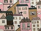 Stoff mit Motivdruck Katzen in der Stadt, Baumwoll-Leinen,